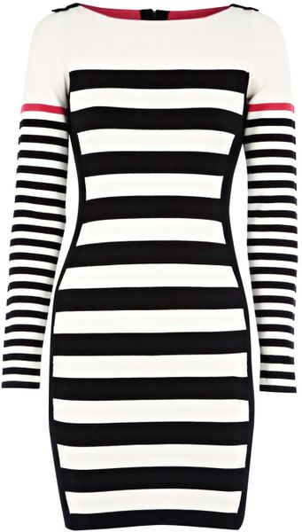 Karen Millen Block Stripe Knit Dress in Black (white)