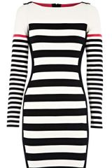 Karen Millen Block Stripe Knit Dress in Black (white) - Lyst