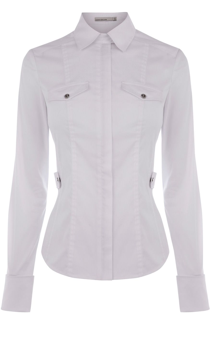 Karen millen clean cotton shirt in white lyst for How to clean white dress shirts