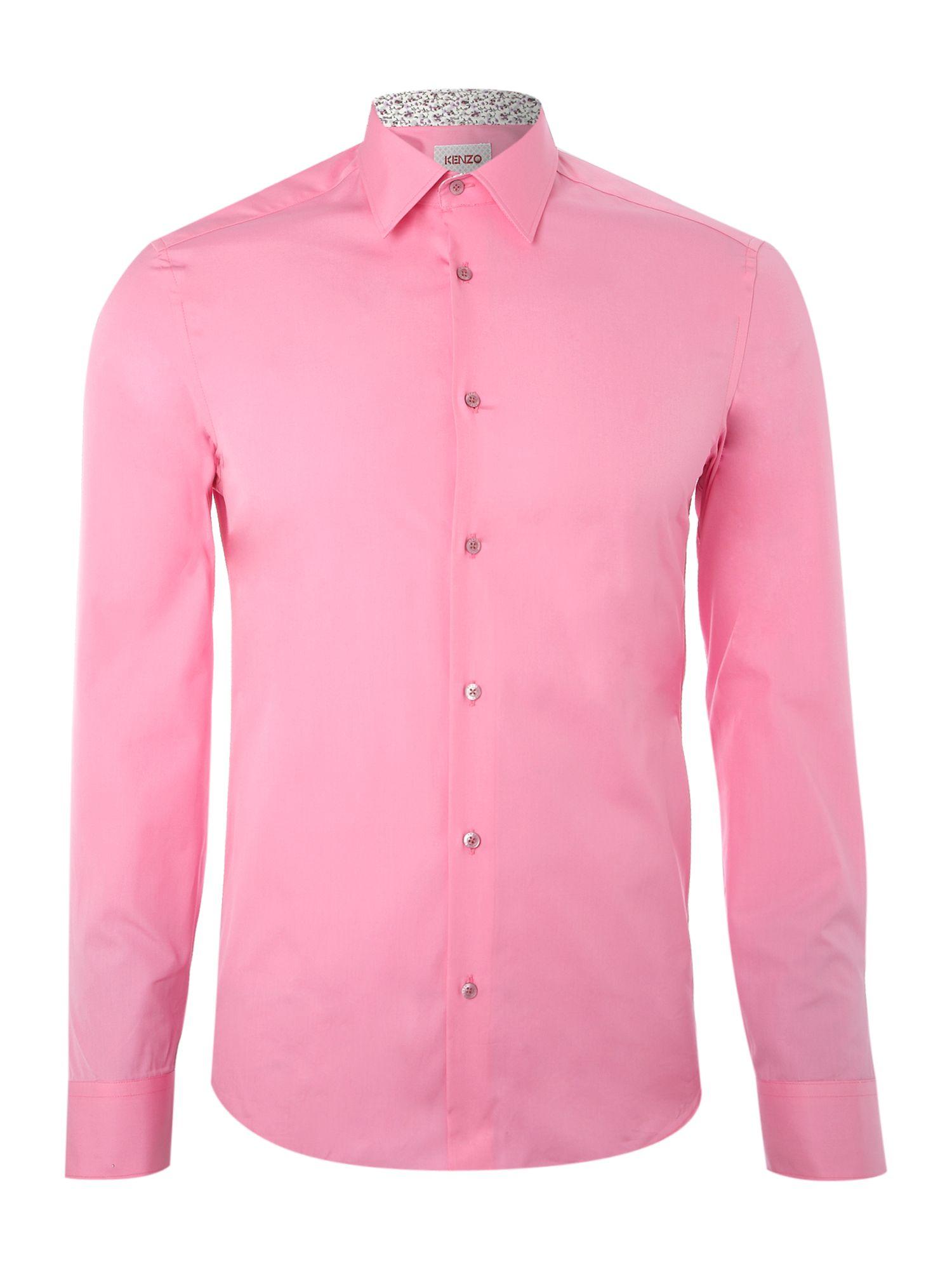 Kenzo Long Sleeven Bright Poplin Shirt in Pink for Men | Lyst