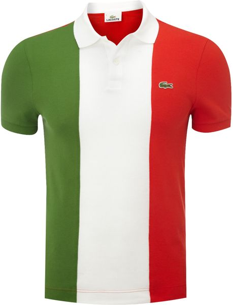 lacoste slim fit italian flag polo shirt in green for men. Black Bedroom Furniture Sets. Home Design Ideas