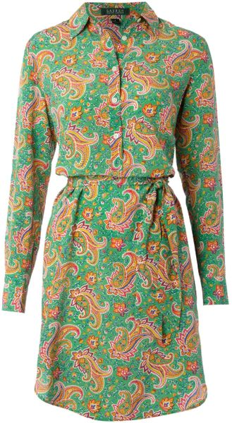 Lauren By Ralph Lauren Sana Shirt Dress in Green - Lyst