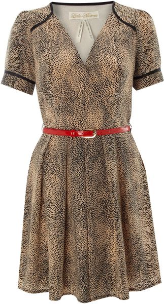 Little Mistress Belted Leopard Print Dress in Beige (leopard) - Lyst
