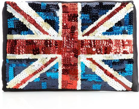 Lulu Guinness Felicity Union Jack Clutch Bag in Multicolor (multi-coloured) - Lyst