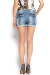Mango Fitted Bermuda Shorts in Blue (denim mid wash) - Lyst