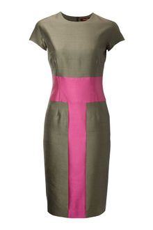 Max Mara Studio Klausen Silk Mix Colour Block Dress - Lyst