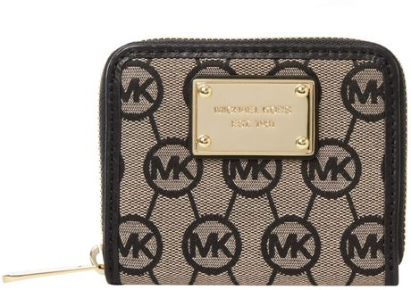 Michael By Michael Kors Monogram Zip Around Purse in Black - Lyst