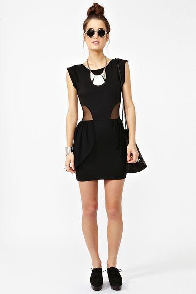 Nasty Gal Peplum Mesh Dress In Black Lyst