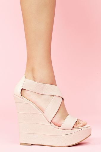 Nasty Gal Bound Platform Wedge Blush - Lyst