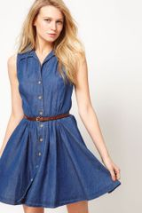 Oasis Oasis Belted Denim Shirt Dress - Lyst