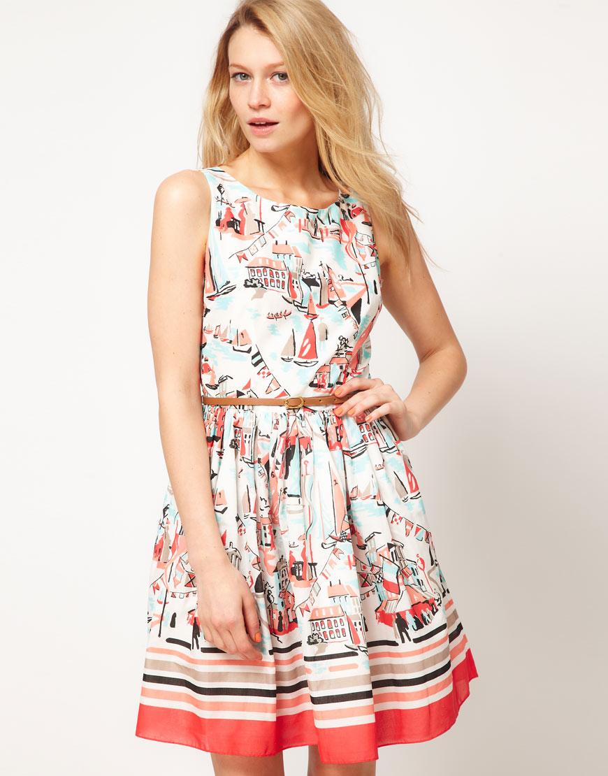 Oasis Oasis Dress with Scenic Print | Lyst