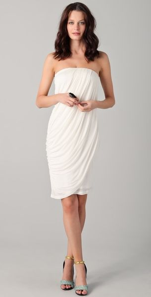 Obakki Elsa Strapless Draped Dress in White - Lyst