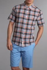 Original Penguin Short Sleeved Shirt in Blue for Men - Lyst
