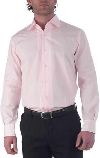 Paul Smith Long Sleeved Slim Fit Poplin Shirt in Pink for Men - Lyst