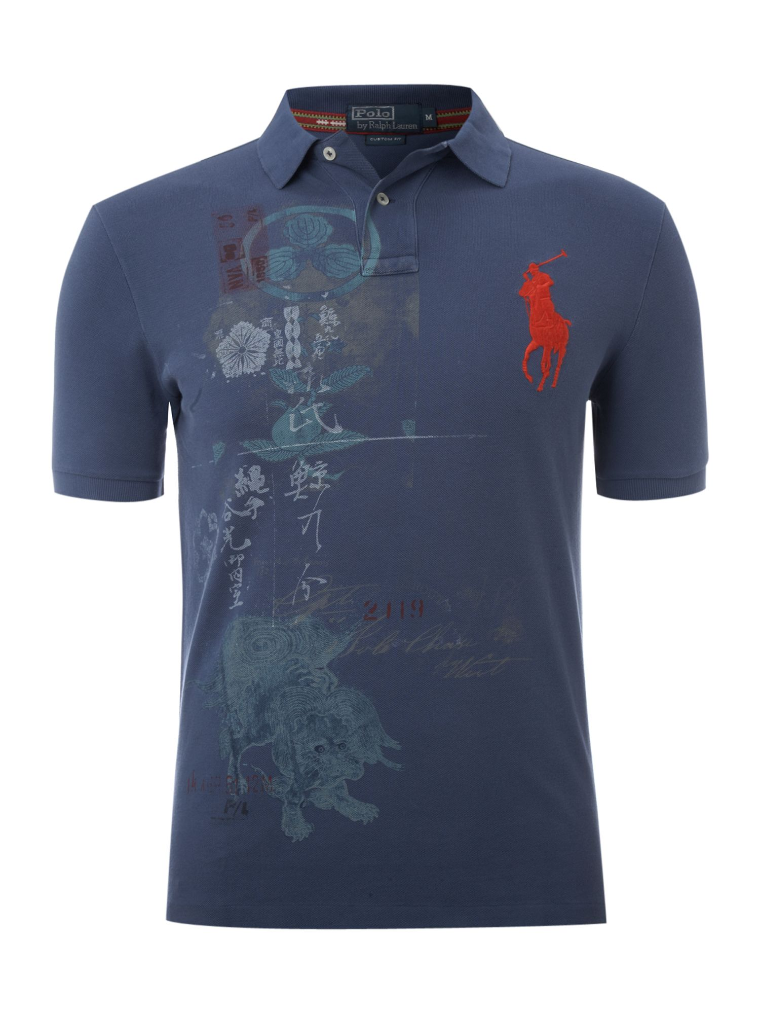 Polo ralph lauren custom fitted printed polo shirt in blue for Custom printed dress shirts