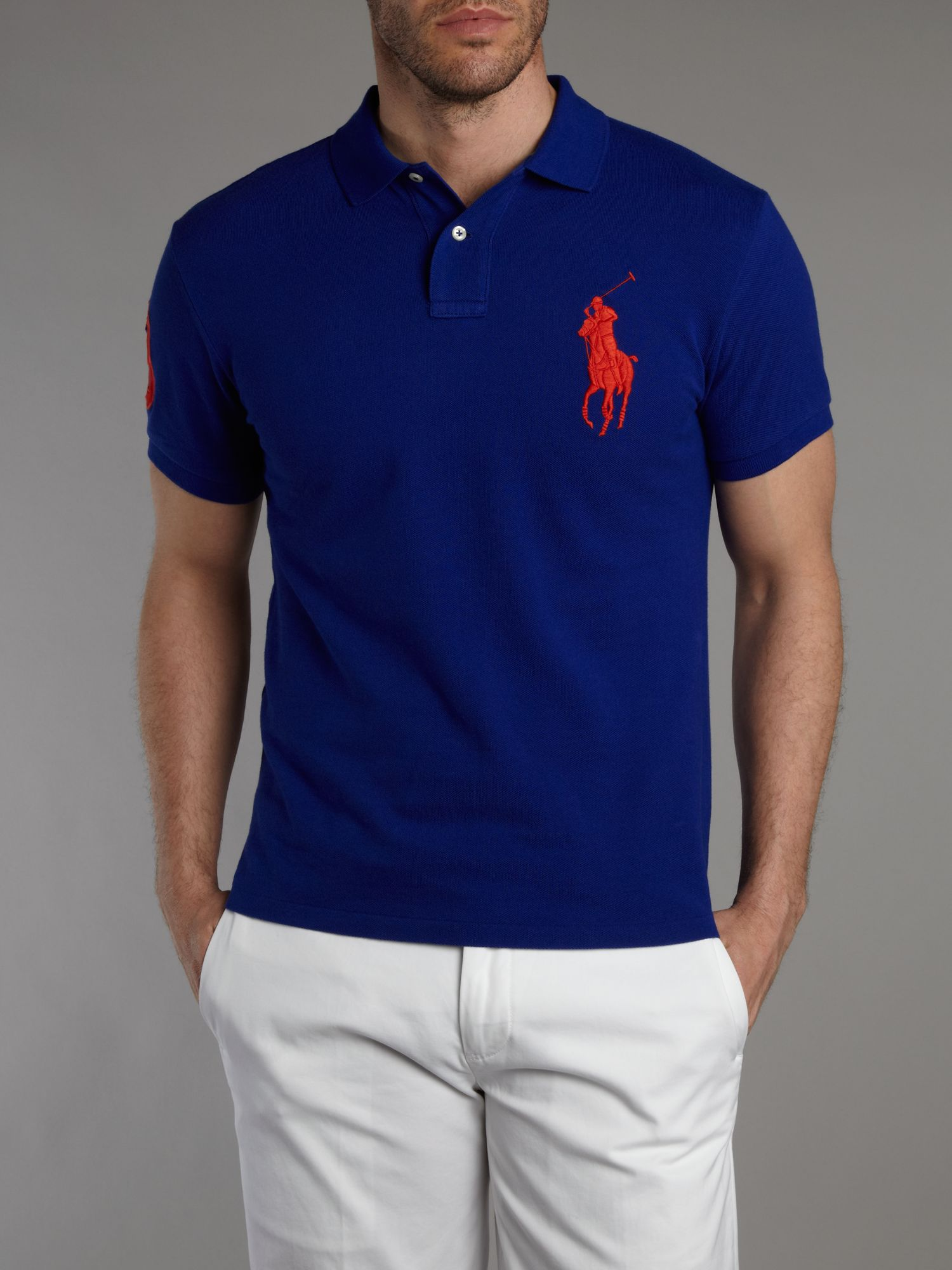polo ralph lauren slim fit big pony polo shirt in blue for men lyst. Black Bedroom Furniture Sets. Home Design Ideas