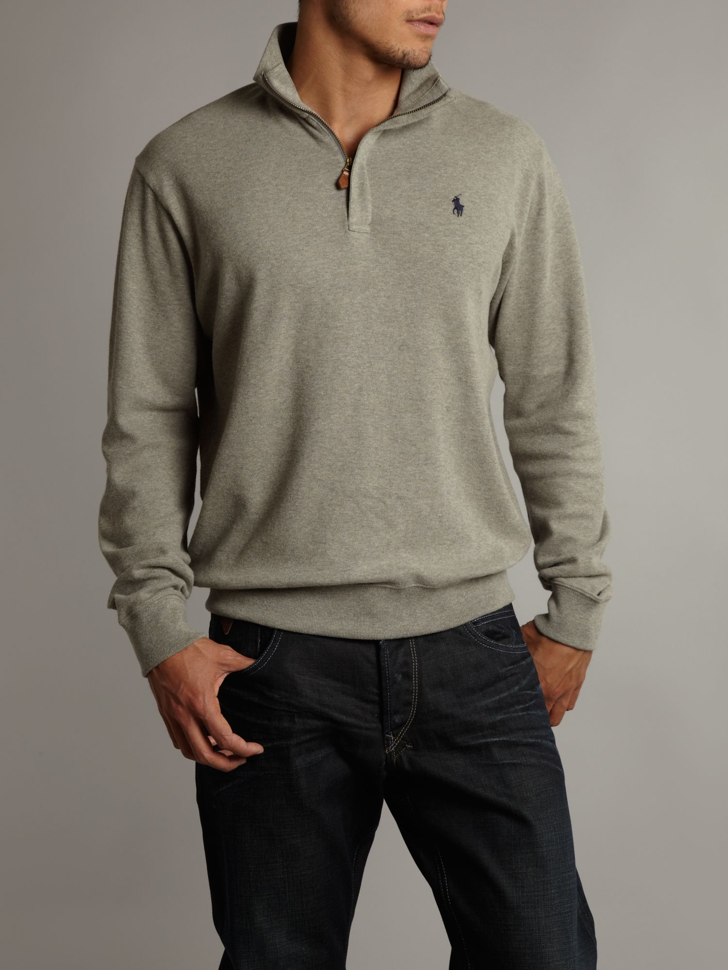 lyst ralph lauren golf half zip sweatshirt in gray for men. Black Bedroom Furniture Sets. Home Design Ideas