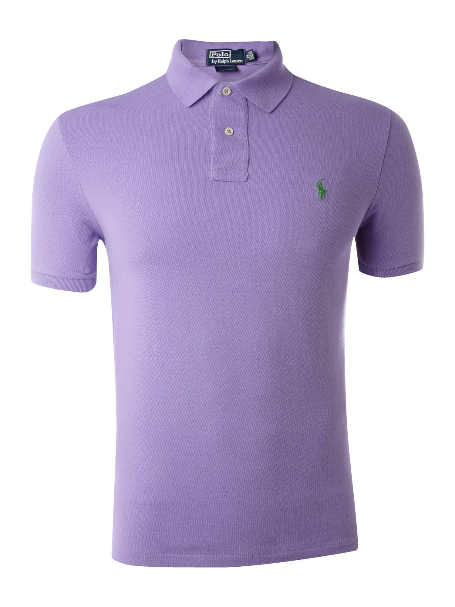 Polo ralph lauren custom fit mesh polo shirt in purple for for Polo ralph lauren custom fit polo shirt