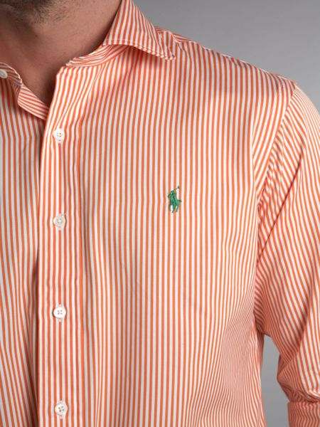 Orange Striped Long Sleeve Shirt Striped Shirt in Orange