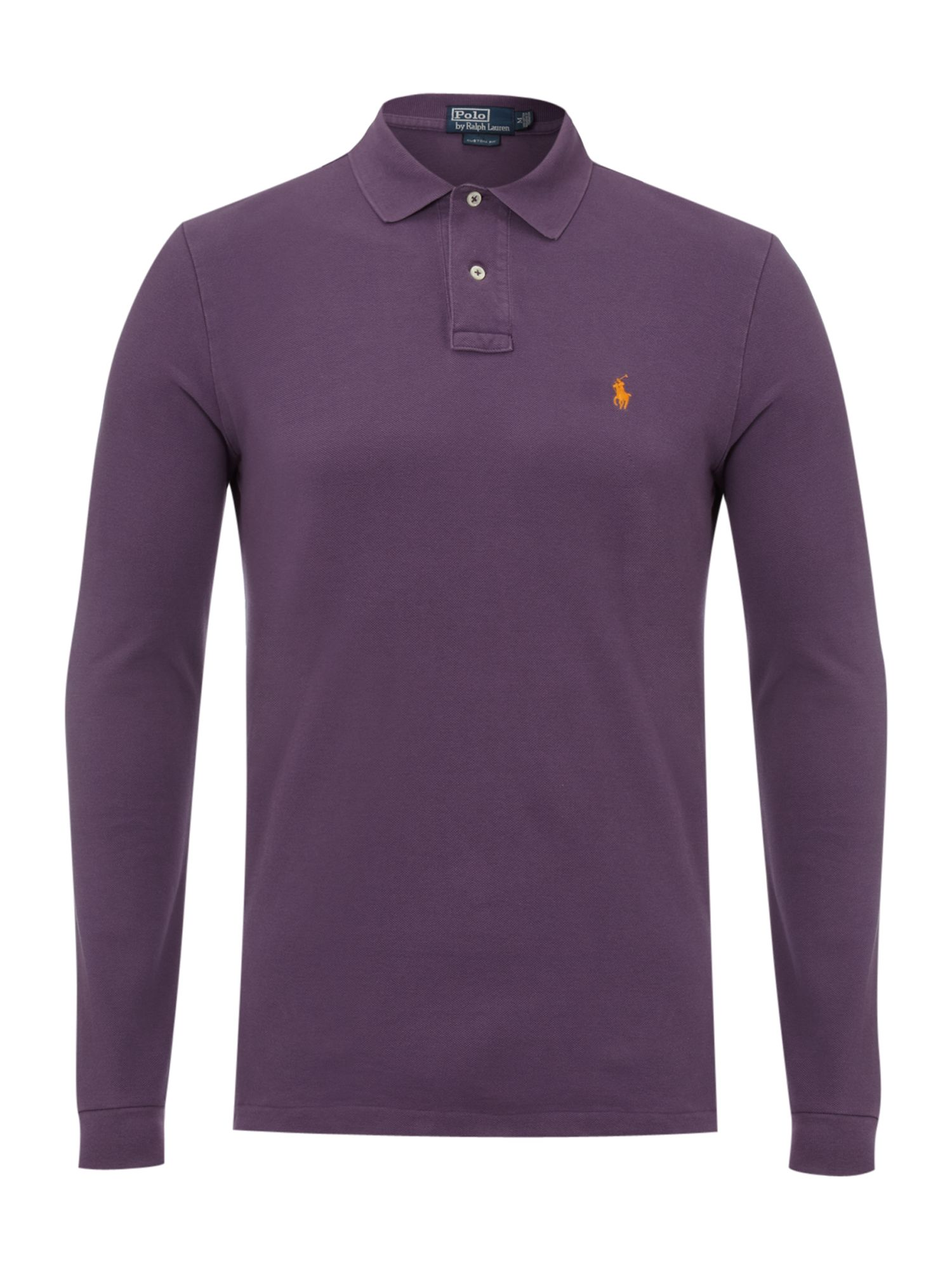 Polo ralph lauren weathered mesh long sleeve custom fit for Long sleeve purple polo shirt