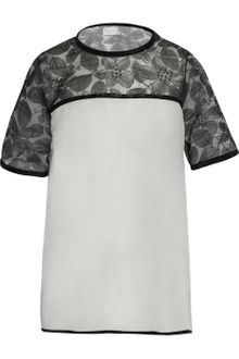 Richard Nicoll Florallace and Silk chiffon Top - Lyst