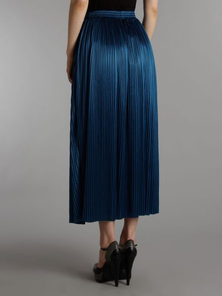 sodamix pleated maxi skirt in blue navy lyst