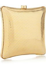 Stella Mccartney Satinlined Perforated Box Clutch in Gold - Lyst