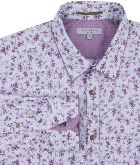 Ted baker floral cotton shirt in purple for men lyst for Ted baker floral shirt