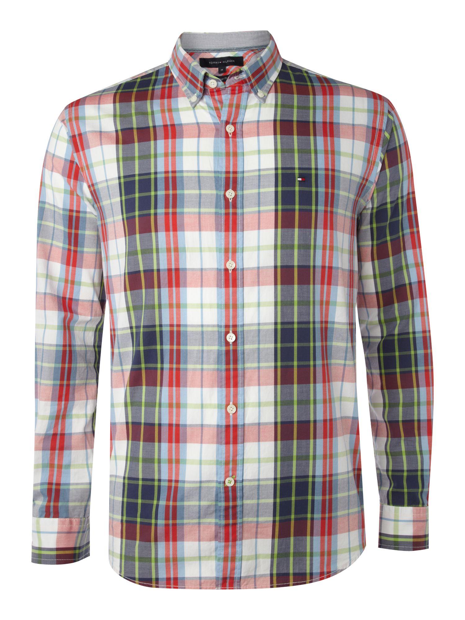 Tommy hilfiger check vintage fit shirt in blue for men lyst for Tommy hilfiger vintage fit shirt