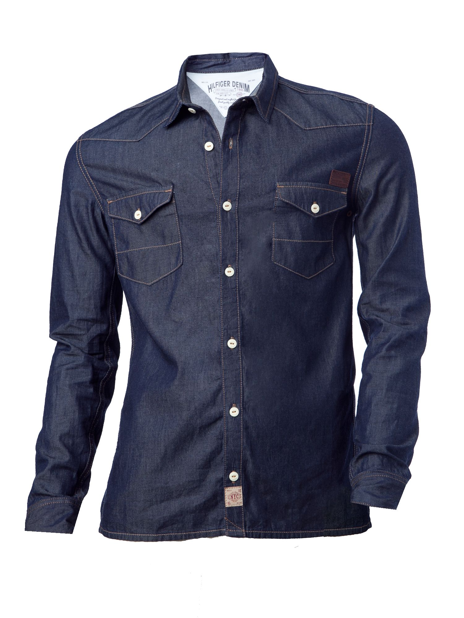 tommy hilfiger gratton long sleeved denim shirt in blue. Black Bedroom Furniture Sets. Home Design Ideas