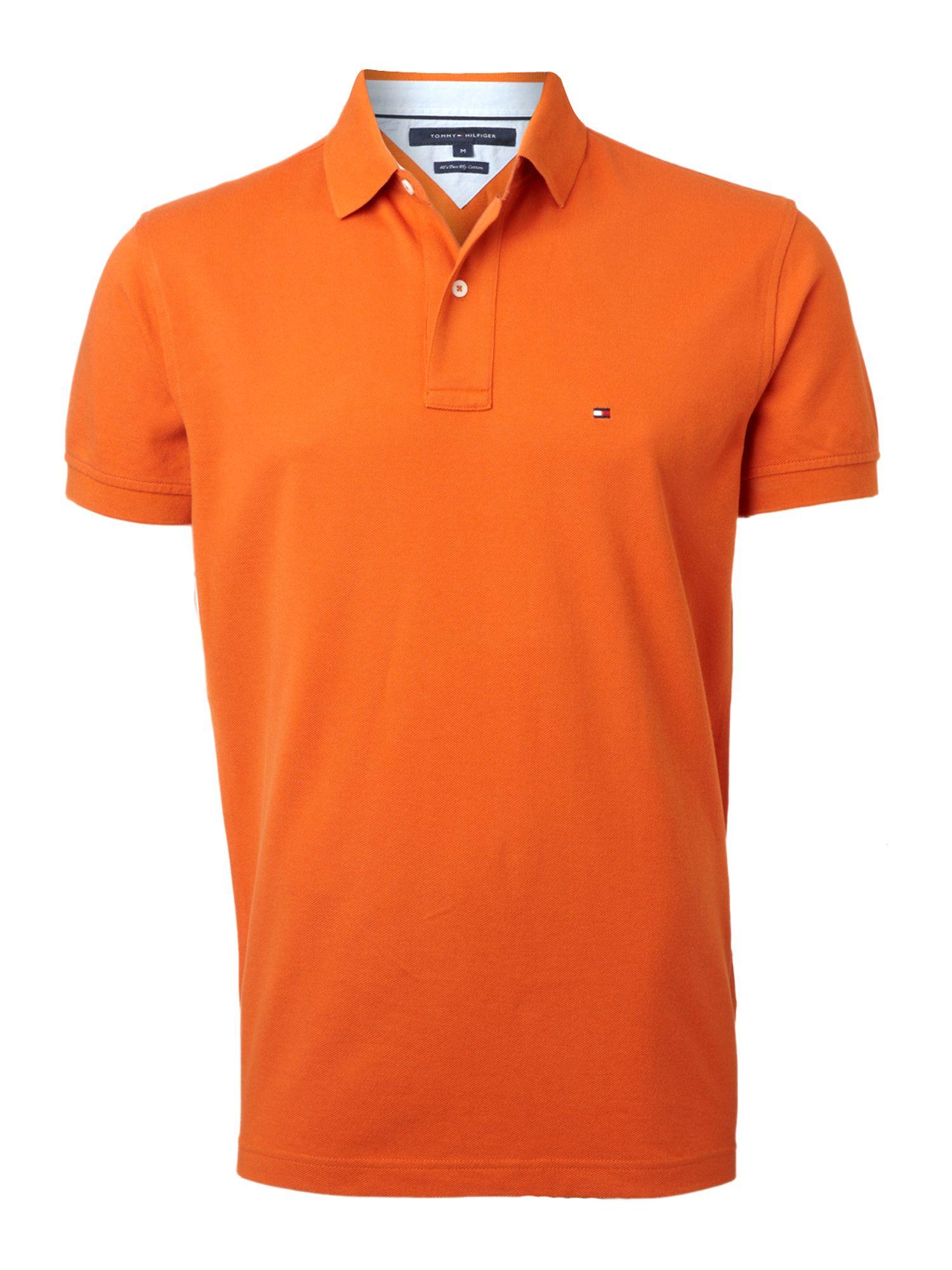 tommy hilfiger knit regular fit polo shirt in orange for. Black Bedroom Furniture Sets. Home Design Ideas