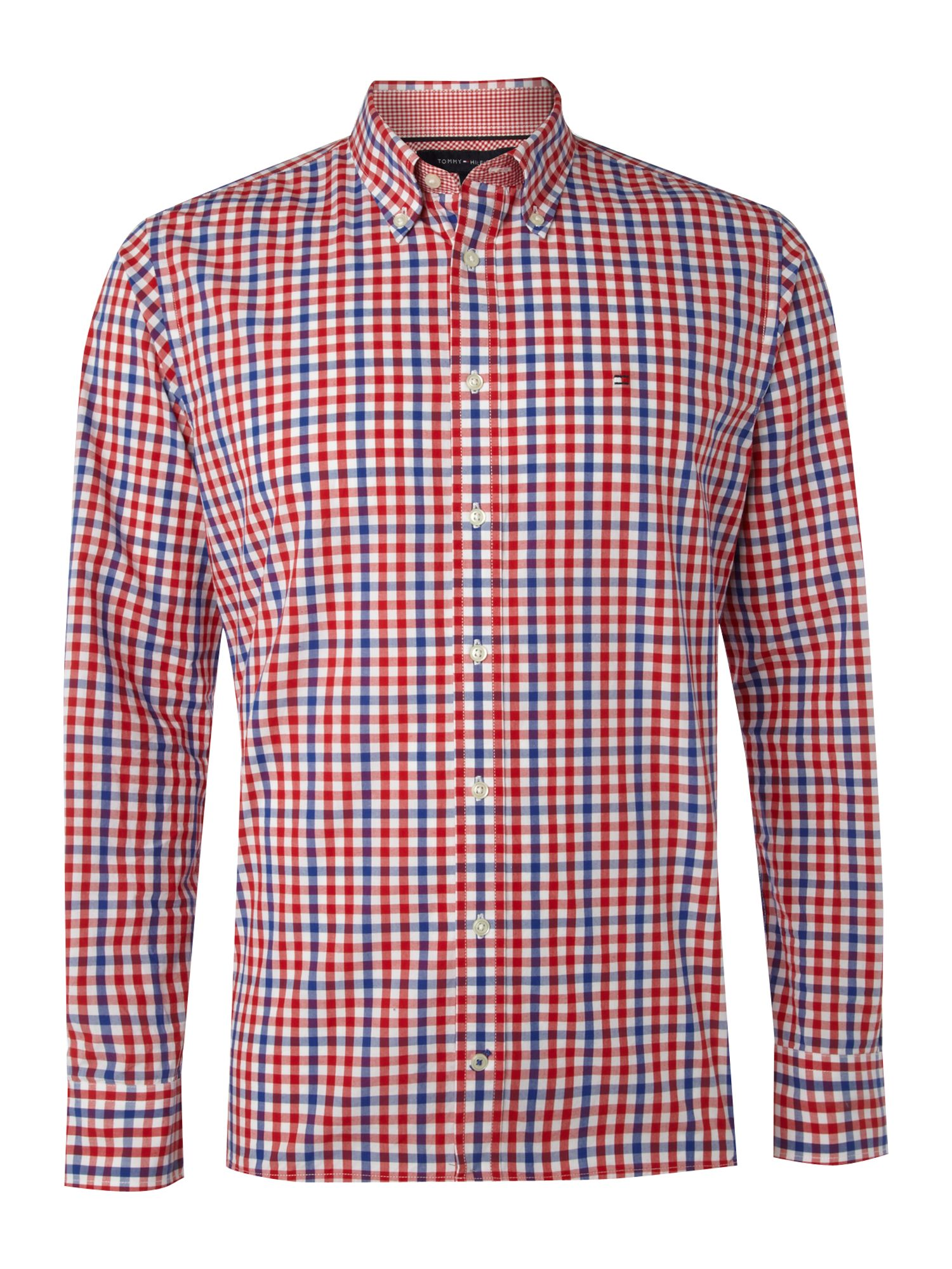 Tommy Hilfiger Check Custom Fit Shirt In Red For Men Lyst