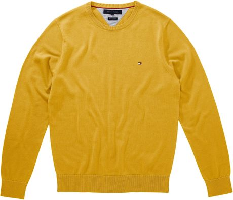 Tommy Hilfiger Pacific Crew Neck Jumper in Yellow for Men - Lyst