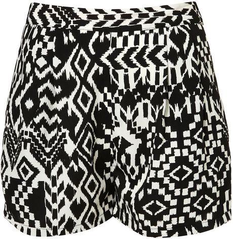 Topshop Aztec Printed Shorts in Animal (black) - Lyst