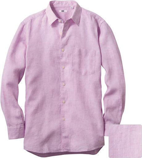 Uniqlo men premium linen long sleeve shirt in pink for men for Uniqlo premium t shirt