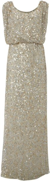 Untold Beaded Maxi Dress in Beige (cream)