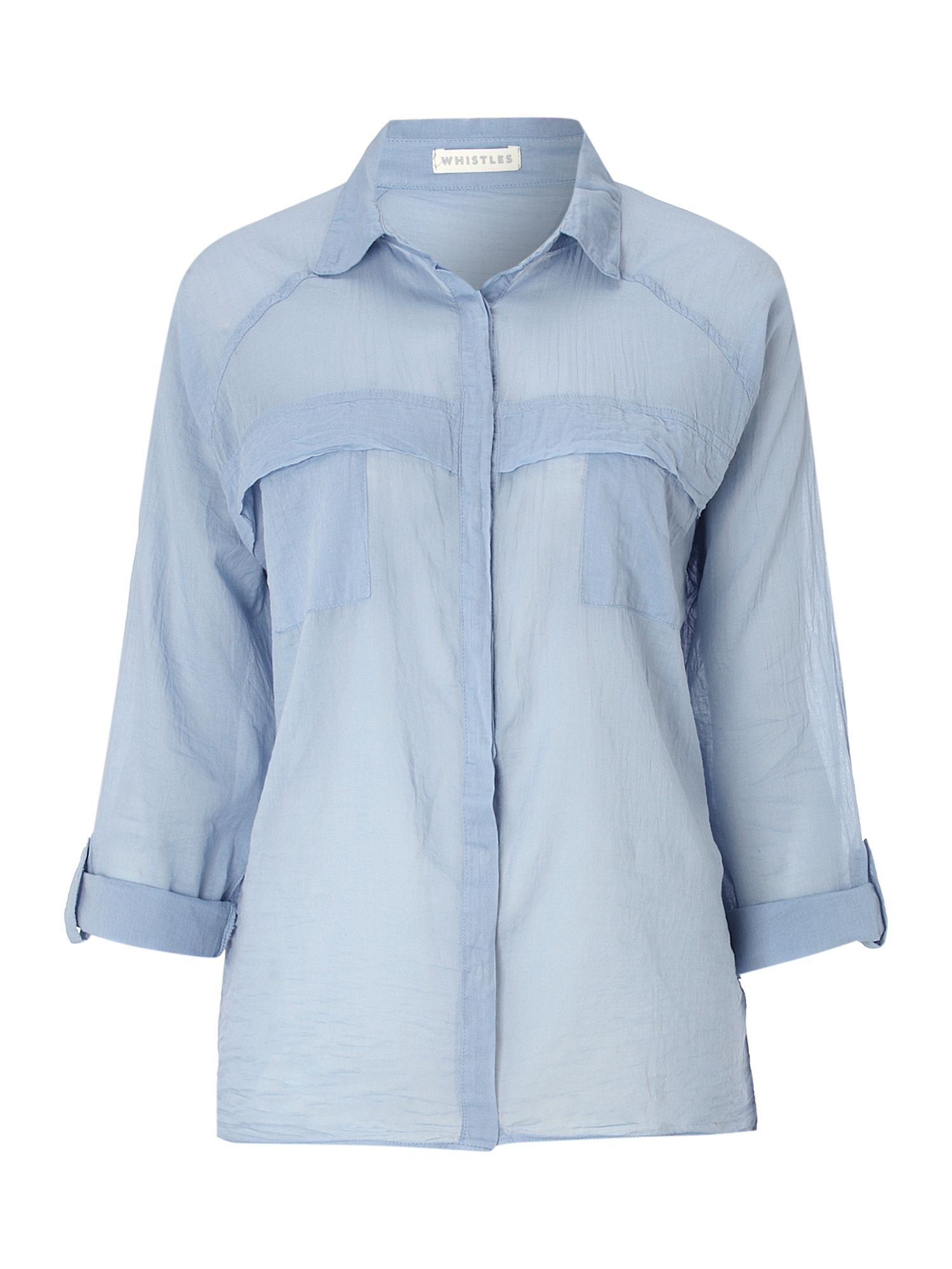 Whistles nick soft cotton shirt in blue light blue lyst for Soft cotton dress shirts