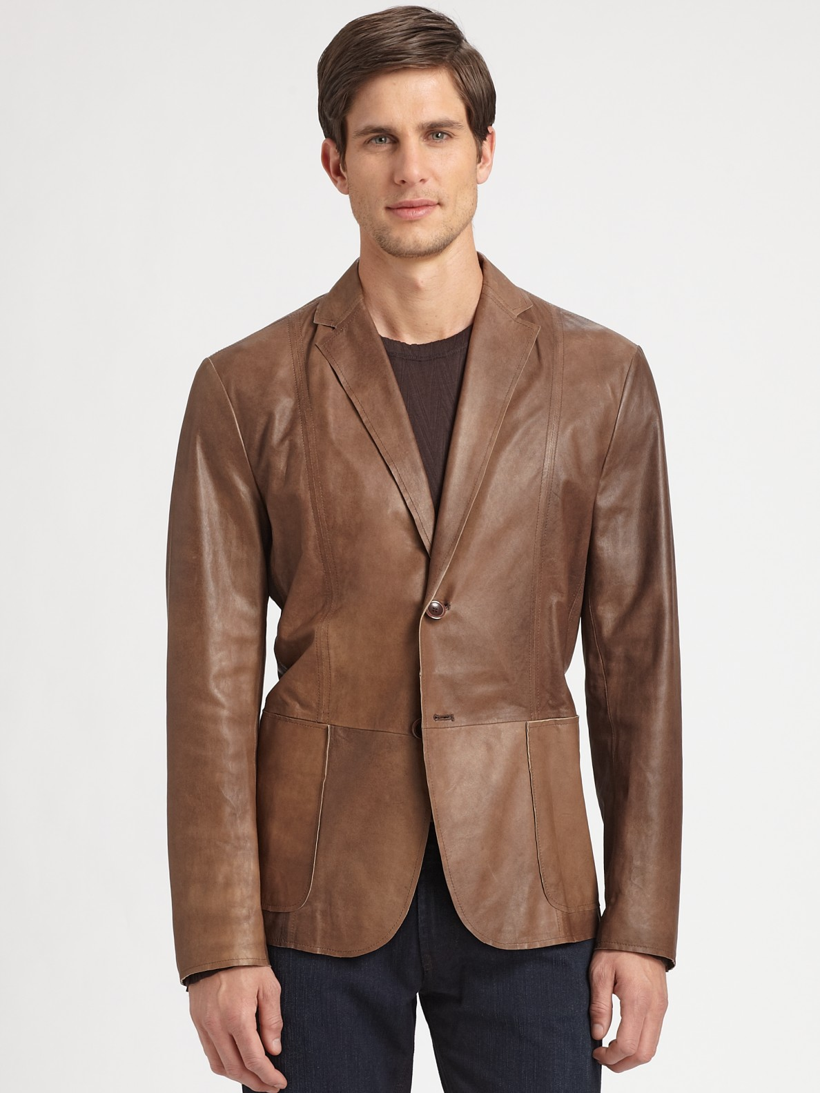Lyst - Armani Leather Blazer In Brown For Men