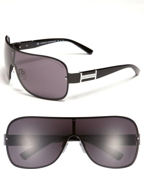 Rimless Glasses Armani : Armani Exchange Rimless Shield Sunglasses in Black (shiny ...