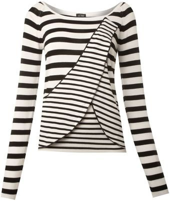 Armani Jeans Stripe and Frilled Long Sleeve Top - Lyst