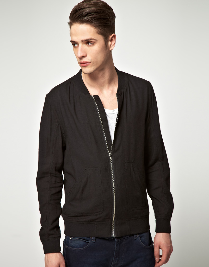 Asos Lightweight Bomber Jacket in Black for Men | Lyst