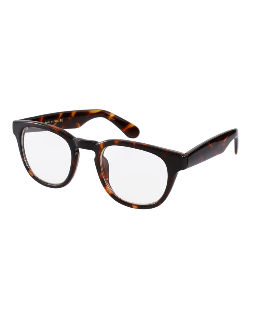 Lyst Asos Tort Poet Clear Lens Glasses In Brown For Men