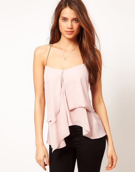 Asos Collection Asos Cami with Pleat Front in Pink (nude) - Lyst