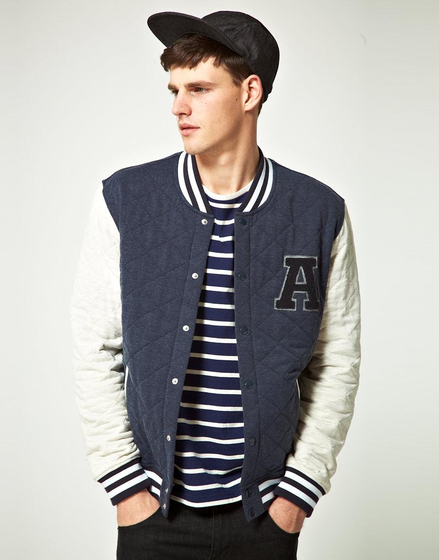 Lyst Asos Quilted Varsity Jacket In Blue For Men