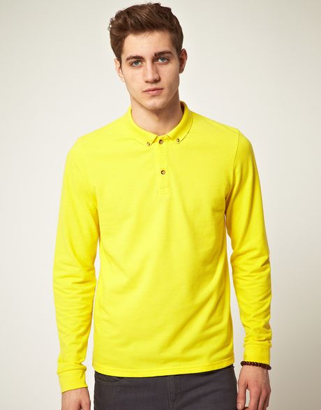 Asos Polo Shirt With Long Sleeves In Yellow For Men Lyst