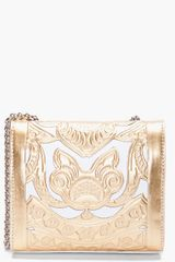 Balmain Gold Tone Ultimate Embossed Shoulder Bag in Gold - Lyst
