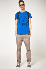 Cheap Monday Cheap Monday Bruce Skull Printed Tshirt in Blue for Men - Lyst