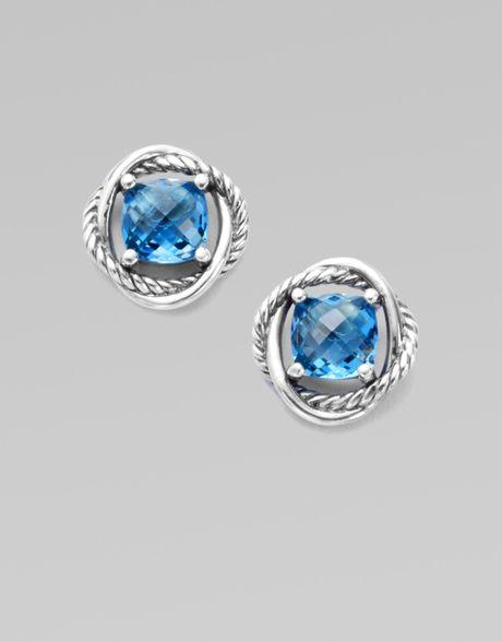 david yurman blue topaz and sterling silver earrings in