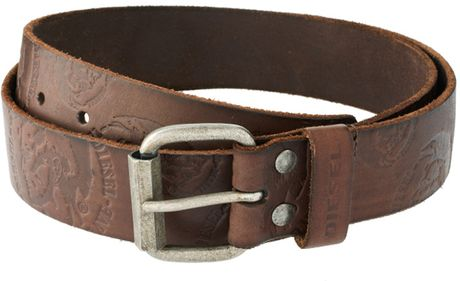 Diesel Bishop Embossed Belt in Brown for Men - Lyst