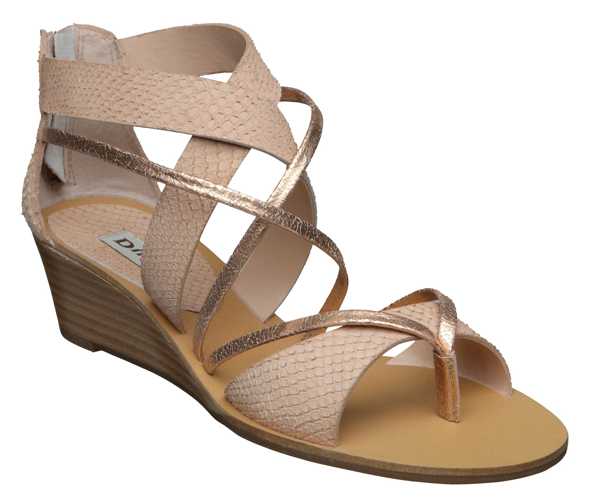 Dune Gogo D Gladiator Back Zip Sandals In Brown Natural